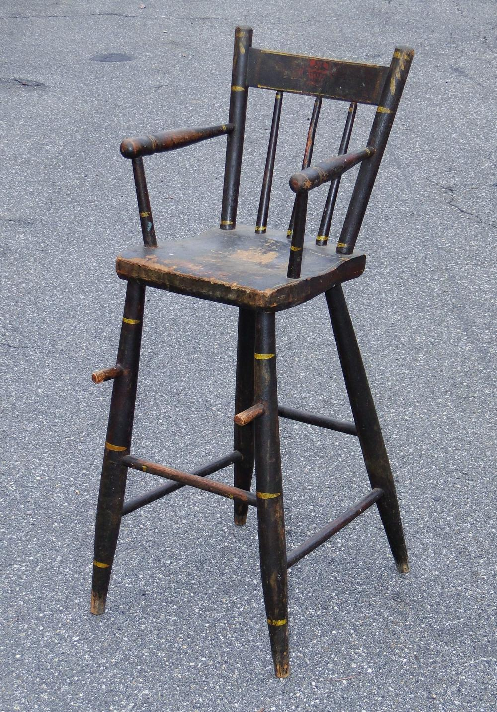 19TH C CHILD'S PAINTED HIGH CHAIR