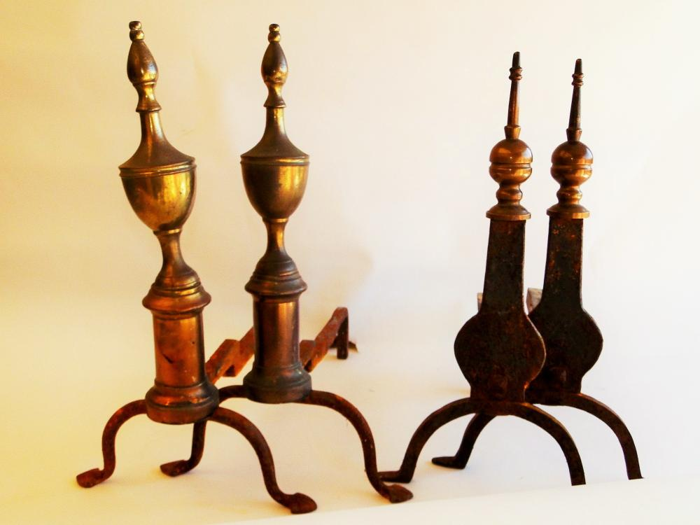 TWO PAIRS 18TH C ANDIRONS