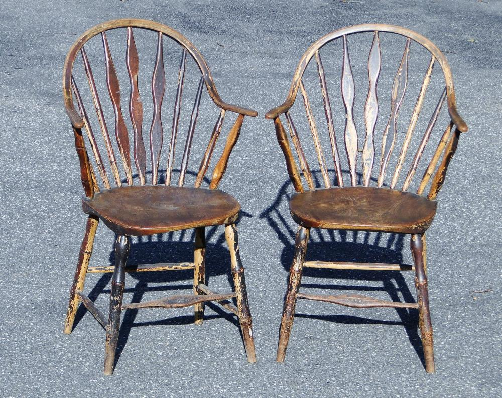 PAIR 18TH C WINDSOR ARM CHAIRS