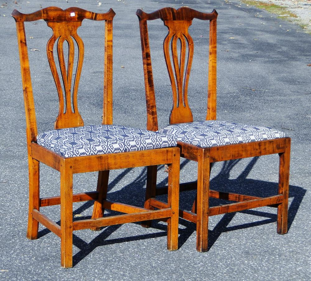 PAIR 19TH C CHIPPENDALE SIDE CHAIRS
