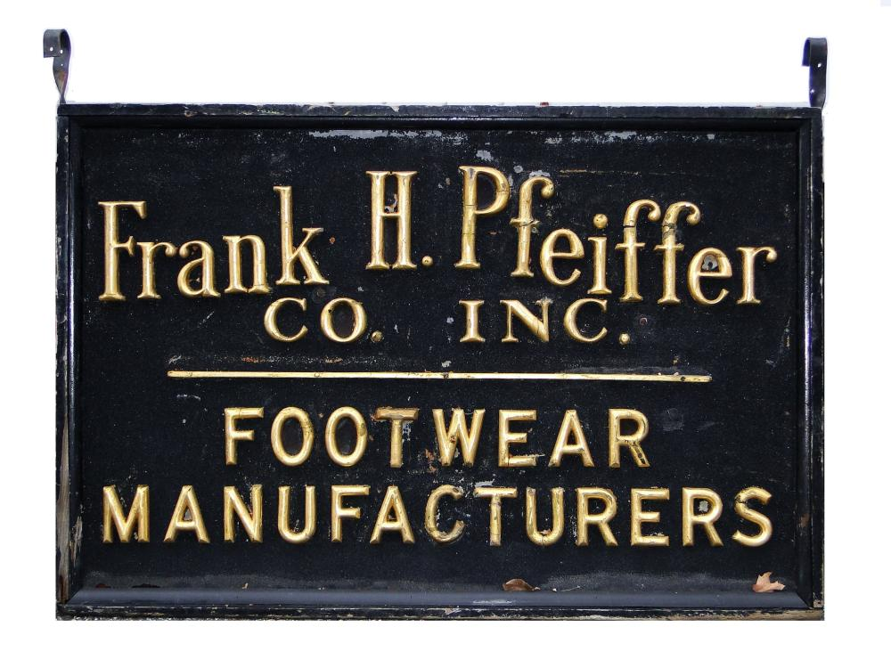 19TH C SHOE TRADE SIGN WORCESTER, MA.