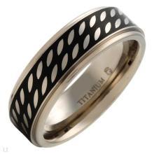 Dazzling Mens Band Ring Beautifully Designed in Black Enamel and Titanium. Size: US-10.