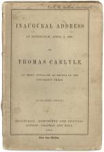 CARLYLE, Thomas. Inaugural Address At Edinburgh, April 2nd, 1866. (FIRST EDITION PRESENTATION COPY)