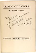 MILLER, Henry. Tropic of Cancer. (FIRST AMERICAN EDITION PRESENTATION COPY - 1940)