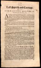 RYE HOUSE PLOT - RUSSELL, Lord William. The Last Speech and Carriage of the Lord Russel, upon the scaffold, &c. on Saturday the 21st of July, 1683. (1683)