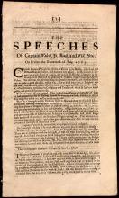 RYE HOUSE PLOT - Walcot, Thomas; Hone, William; Rouse, John.The Speeches of Captain Walcot, Jo. Rouse and Will. Hone, on Friday the twentieth of July, 1683. (1683)