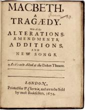 SHAKESPEARE, William [William D'avenant]. Macbeth, a Tragedy... (THE SECOND QUARTO EDITION AND THE FIRST DAVENANT EDITION - 1674)