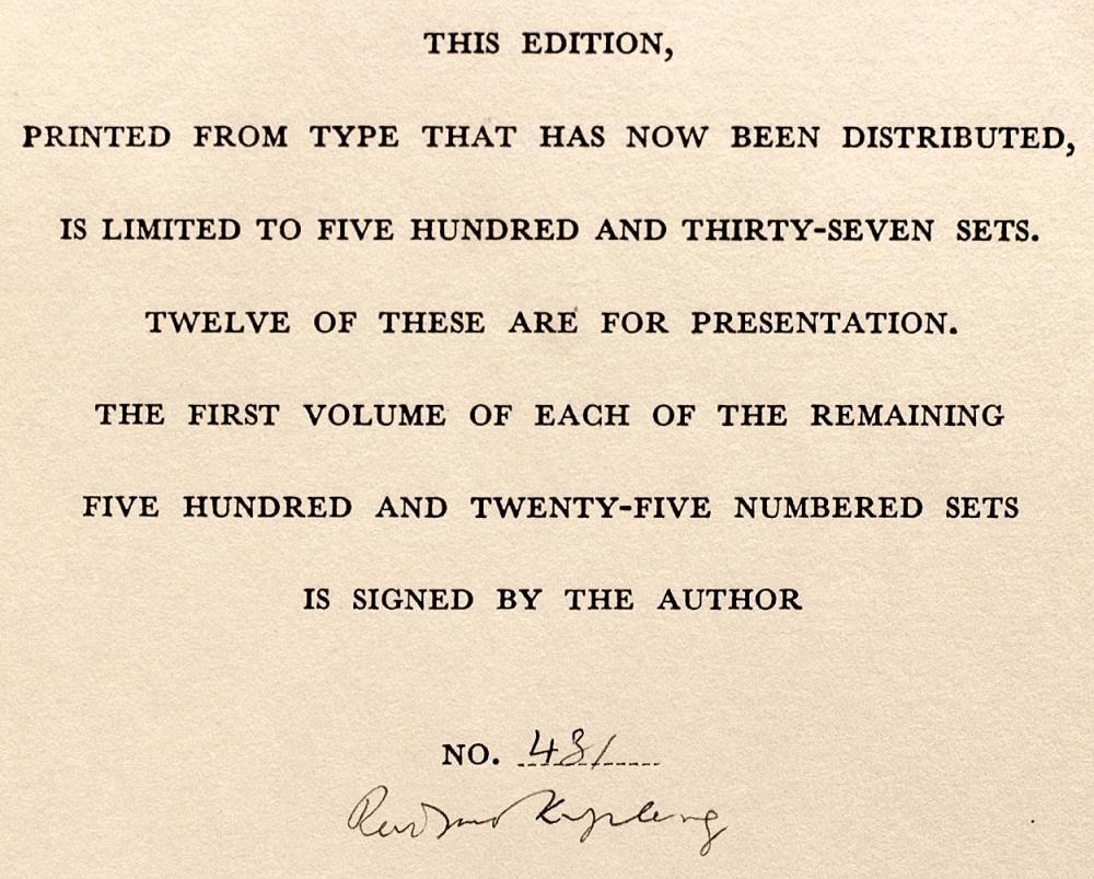 Kipling Rudyard Poems 1886 1929 Signed Limited Edition 1930