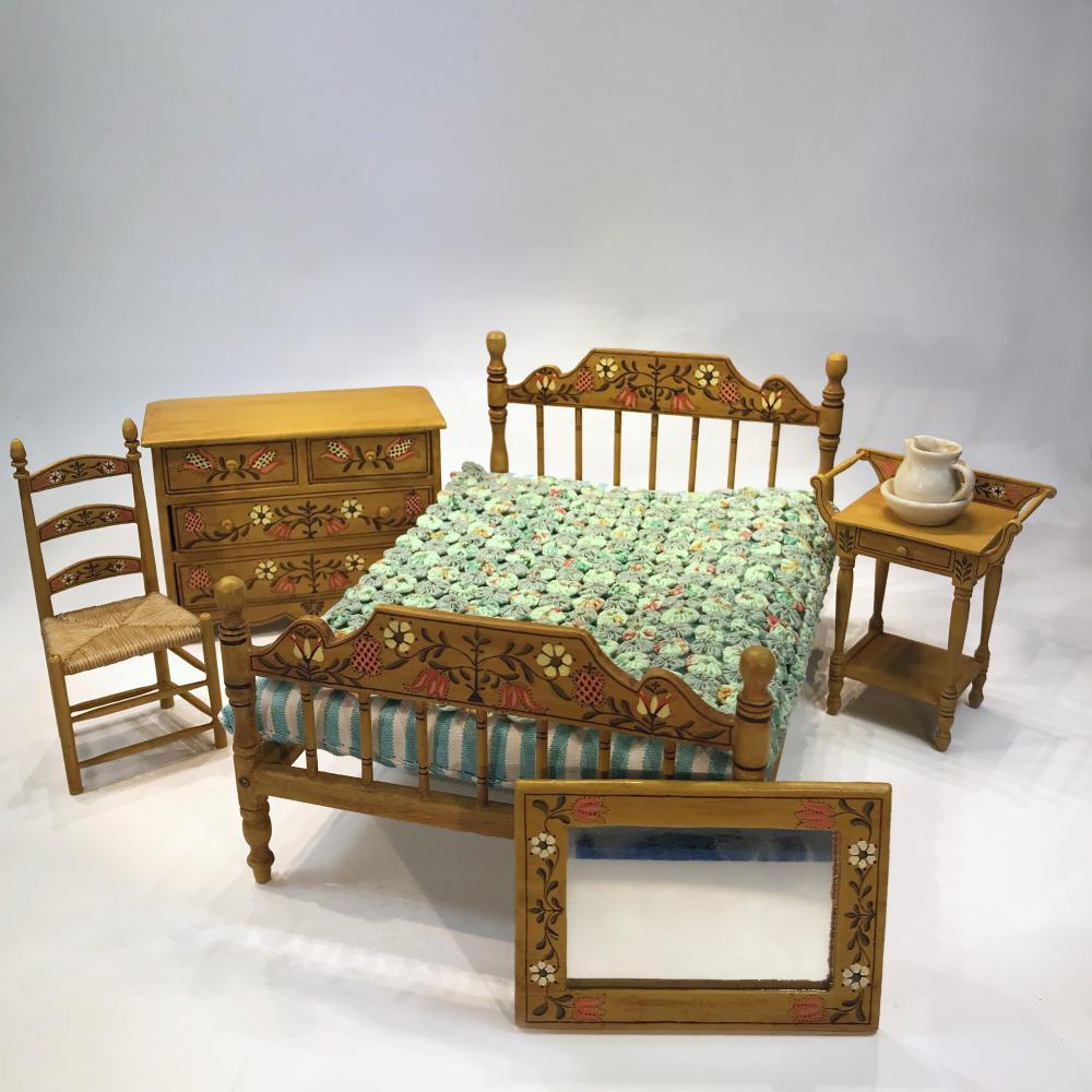 5pc Vintage Antique Table Set Chairs Miniatures Furniture Dollhouse Doll Lot