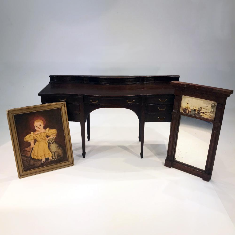 Artisan Side Board, Decorative Mirror and Framed Painting Do