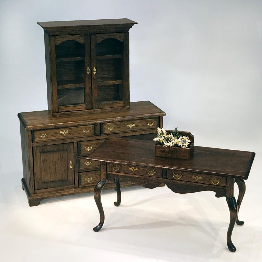 Artisan Dining Cabinet and Console Dollhouse Miniatures