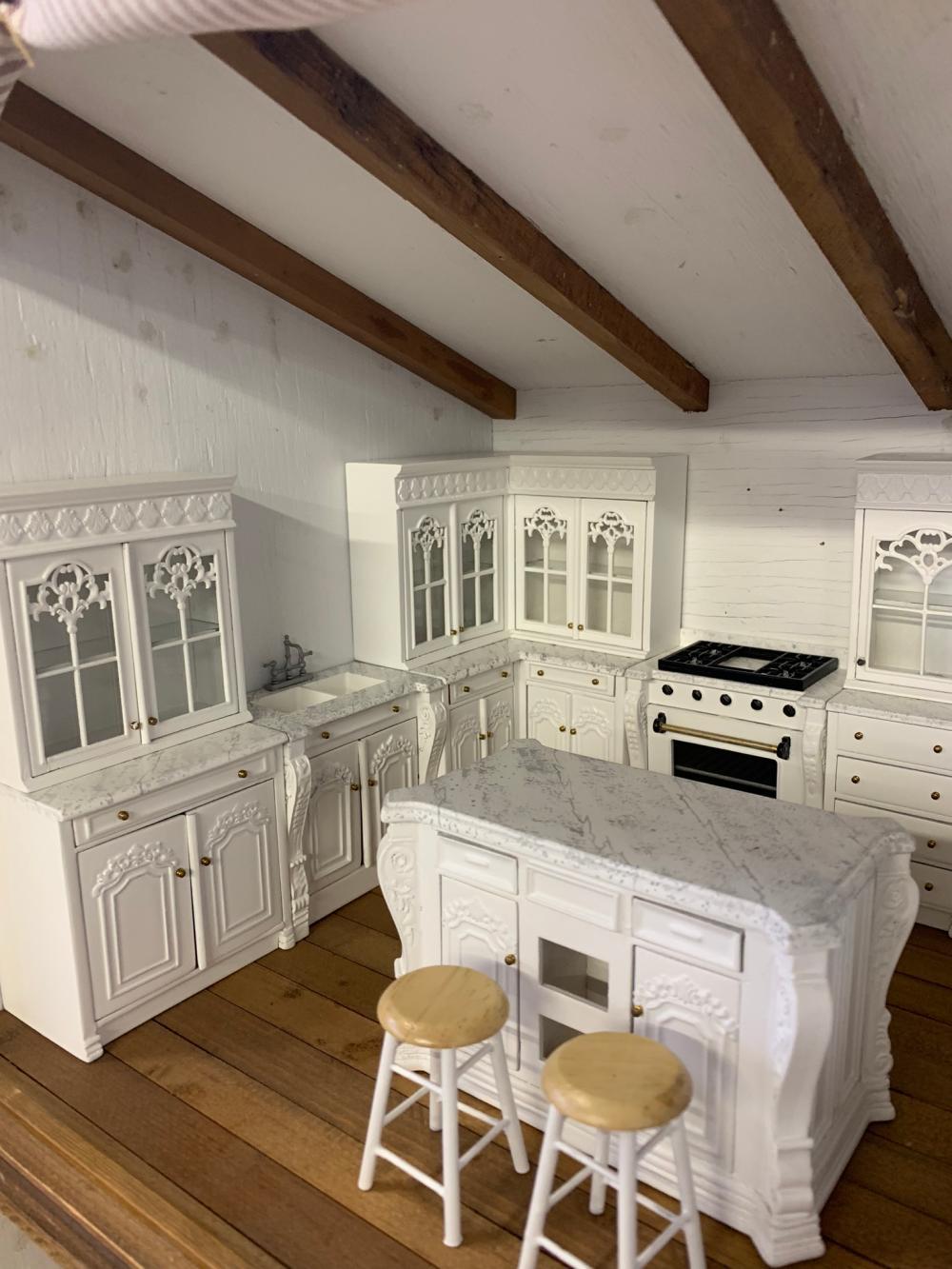 Contemporary Dollhouse Miniatures Kitchen Set Bonus Stools