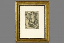 ZADKINE OSSIP (1890 - 1967) houtskooltekening : 'Man en vrouw aan