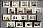 series of 16 antique engravings