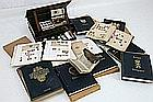 small collection or stamps and coins, a reading box in mahogany & an antique book
