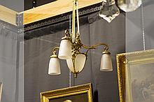 Art Deco-chandelier in bronze pâte de verre - signed