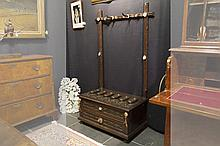 antique guns' cabinet with 2 drawers and with hooks, grips and ornaments in horn