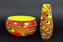 sixties'/seventies' Italian bowl and vase in Murano-glass