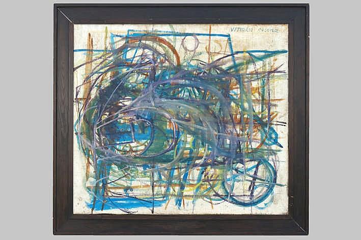 20th cent. Italian oil on canvas with a futuristic elaborated theme - signed