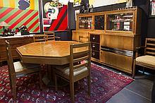 Art Deco 'De Coene' dining-room suite (ca 1929) in oak, ebony, ebonised wood and ébène de macassar