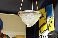 Art Deco-chandelier in bronze and thick crystalglass