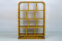 open Art Deco library bookcase in blond walnut burl and with ebonised feet