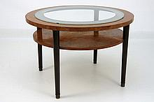 Art Deco-table in burl walnut with topsheet, partly in glass, with an layer and four legs in rosewood - ca 1925