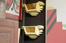pair of American style Art Deco-wall lights in plaster and 'American' glass