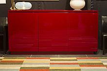 design dresser in red lacquerware