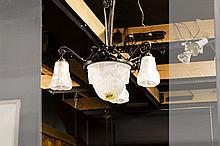 Art Deco-chandelier in wrought iron and crystalglass - signed