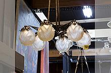 Art Deco-chandelier in wrought iron and crystalglass