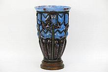 quite rare big Art Deco-vase in pâte de verre and wrought iron