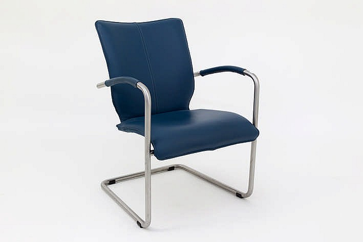 Dutch design armchair in metal and leather marked for Dutch design chair uk