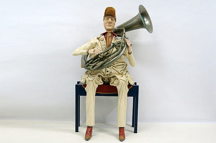 20th Cent. Belgian quite big sculpture in ceramic on a wooden chair - signed ?