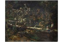 """HERVIER LOUIS ADOLPHE (1818 - 1879) olieverfschilderij op doek : """"Twee kind"""
