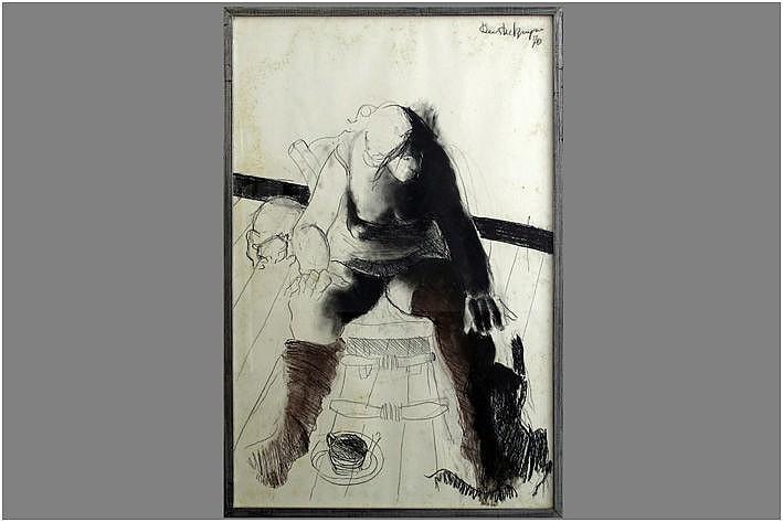 DE BRUYNE DEES (1940 - 1998) houtskooltekening met