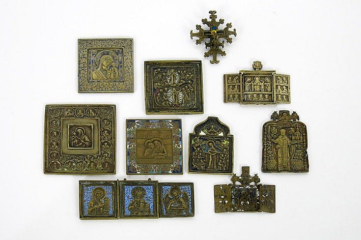 collection of 10 antique Russian travellers' icons