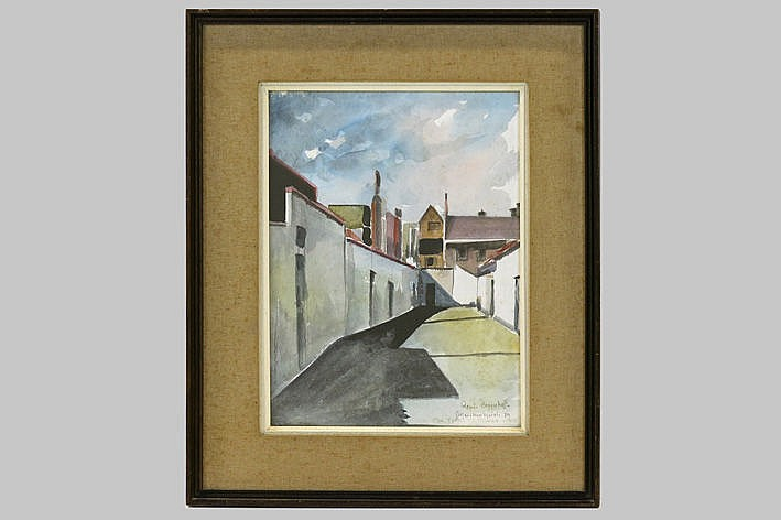 aquarelle - signed and dated & with dedication