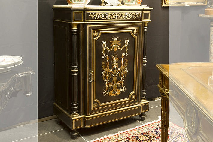 19th Cent. French Napoleon III-cabinet in ebony (on mahogany) with brass and ivory - with its marble top