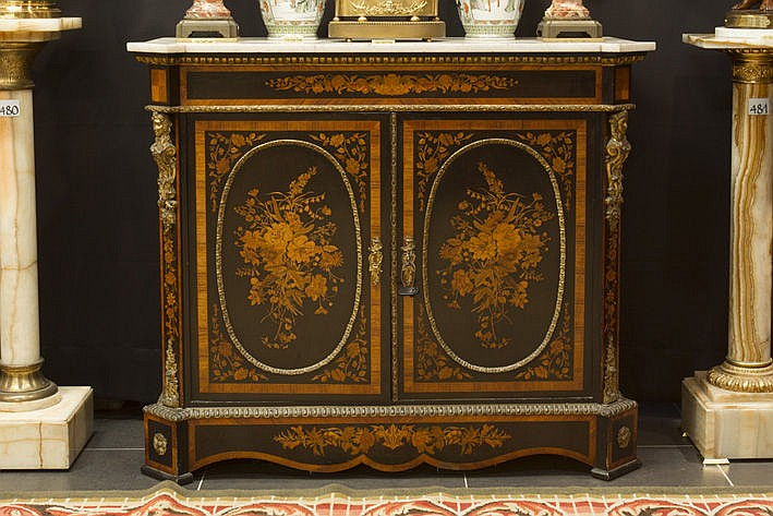 19th Cent. French neoclassical Napoleon III-cabinet in ebony and marquetry with its marble top - ca 1850/70