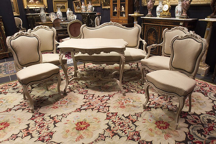 antique Louis XV style salon suite (6 pcs) in painted wood