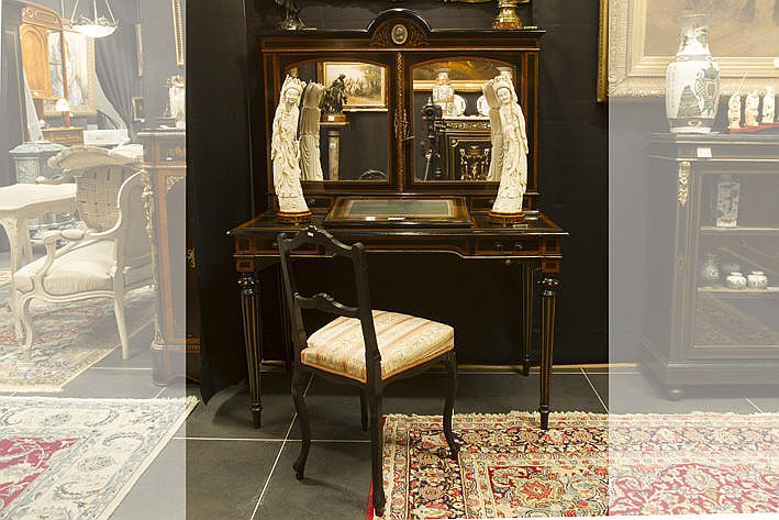 19th Cent. French Napoleon III-bureau in marquetry on mahogany with mountings in guilded bronze and with a medaillon with 'Roman profile' in bronze  -  will be sold with a 19th Cent. Napoleon III-chair