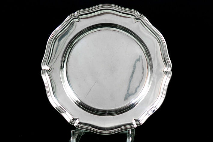 round tray in marked silver