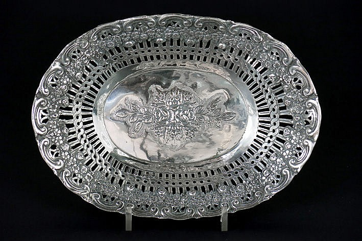 antique basket in marked silver