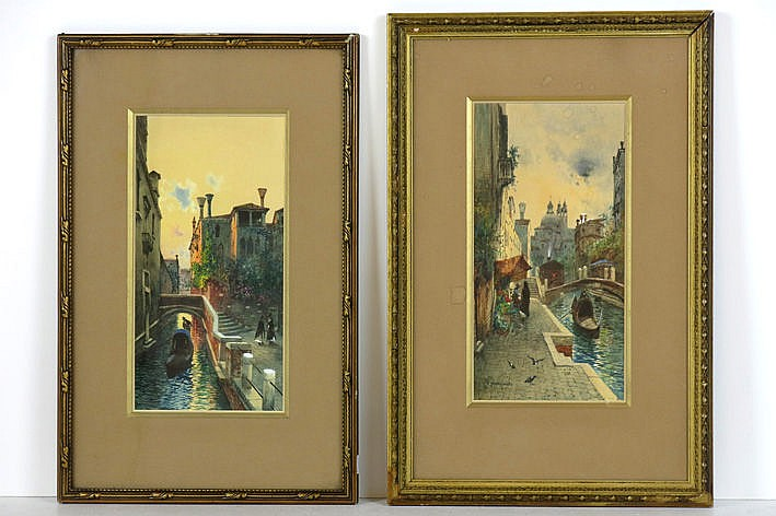 pendant (�) aquarelles with Venetian views - one is signed