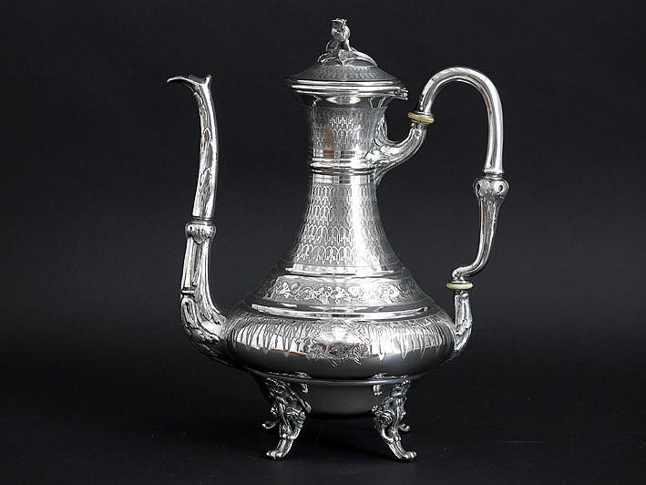 antique French coffee pot in marked silver