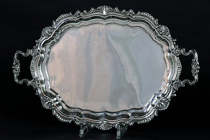 quite large antique German (serving)tray in marked silver