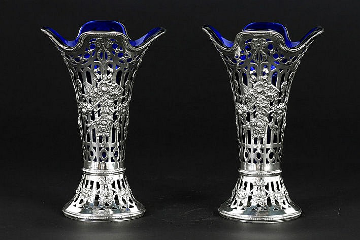 antique pair of (�) German vases ornated with festoons in marked silver