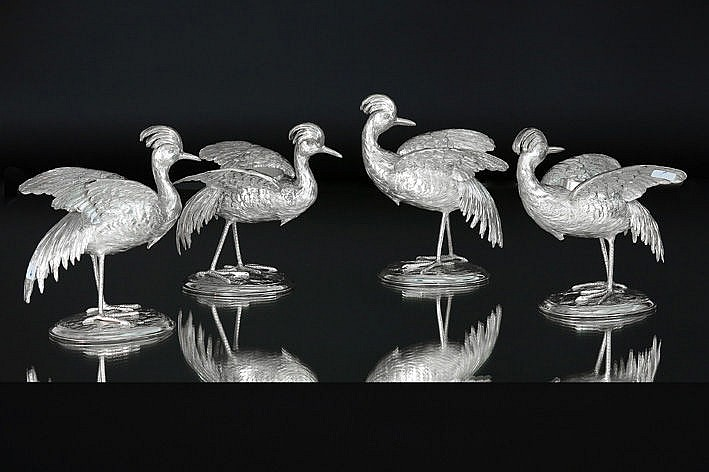 antique 4 piece (�) table set in the shape of birds - in marked silver