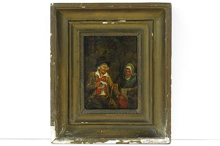 antique oil on panel with a genre theme owith a man and woman in interior